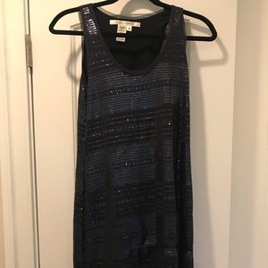 Navy Sequins Knee-Length Dress - Small